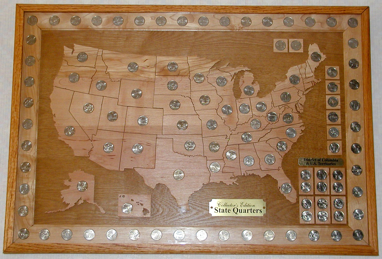 Jakes US Map Statehood Quarter Coin Display Board Kids Coin - Us map for quarters